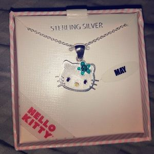 Hello kitty May birth stone necklace sterling